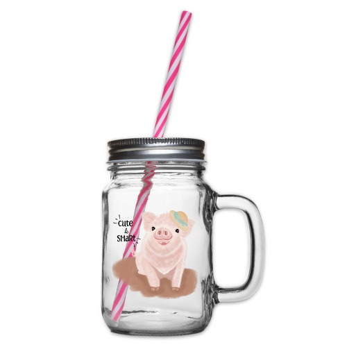 Cute & Smart Pig - Glass jar with handle and screw cap