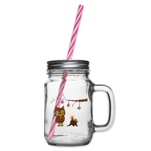 Eule feiert Weihnachten - Henkelglas mit Schraubdeckel