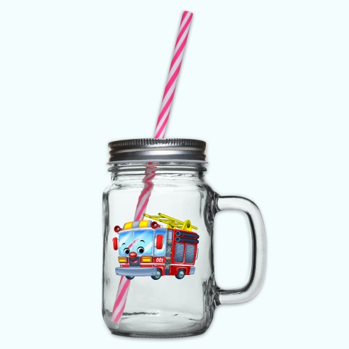 Firetruck Arthur Collection - Glass jar with handle and screw cap