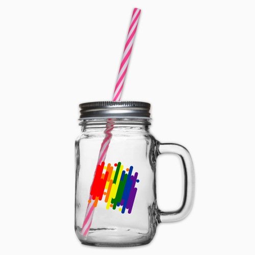 Abstract Pride Design - Glass jar with handle and screw cap