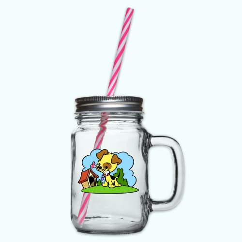 Tiny Dog - Glass jar with handle and screw cap