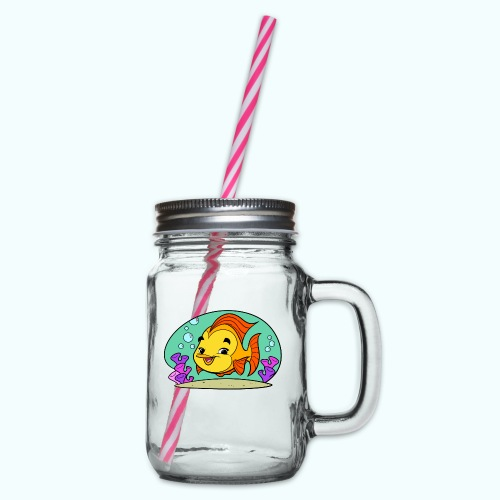 Fishy Tiny Art Collection - Glass jar with handle and screw cap