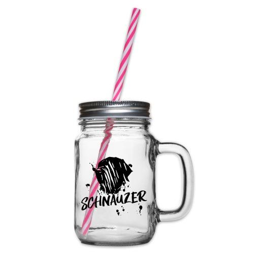 Riesenschnauzer / Schnauzer Comic Design Geschenk - Henkelglas mit Schraubdeckel
