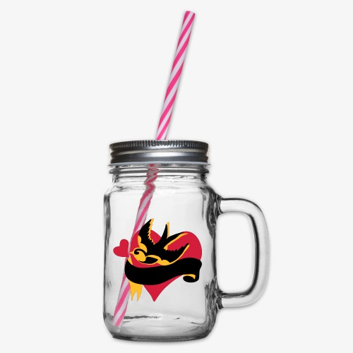 retro tattoo bird with heart - Glass jar with handle and screw cap