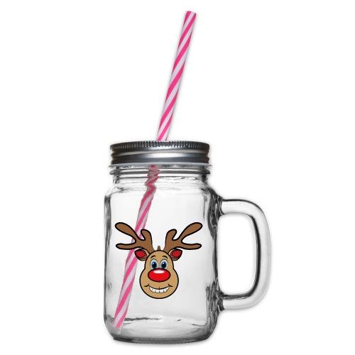 Ugly Christmas Weihnachten Xmas Rudi Reindeer - Henkelglas mit Schraubdeckel