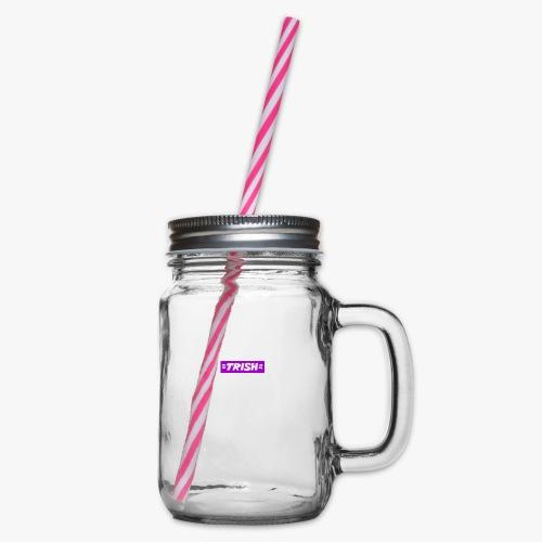 trish logo - Glass jar with handle and screw cap