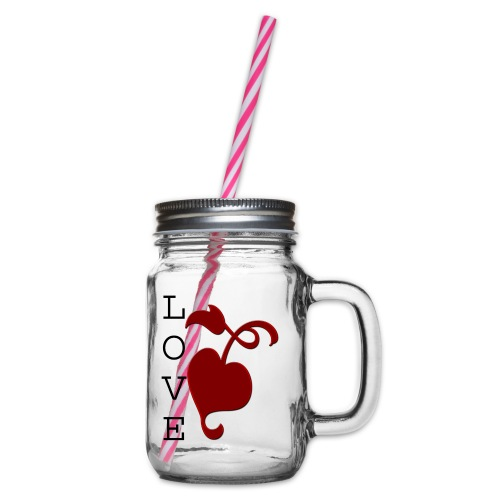 Love Grows - Glass jar with handle and screw cap
