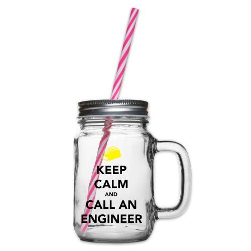 Keep Calm Engineer - Glass jar with handle and screw cap