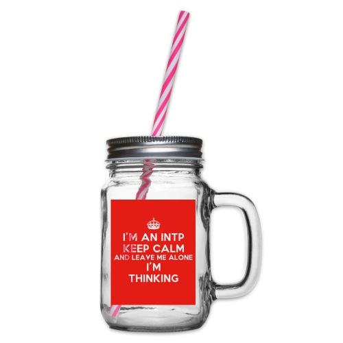 KEEP CALM 2 - Słoik do picia z pokrywką
