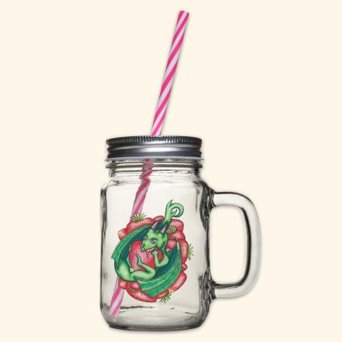 Drake med jordgubbar - Glas med handtag och skruvlock