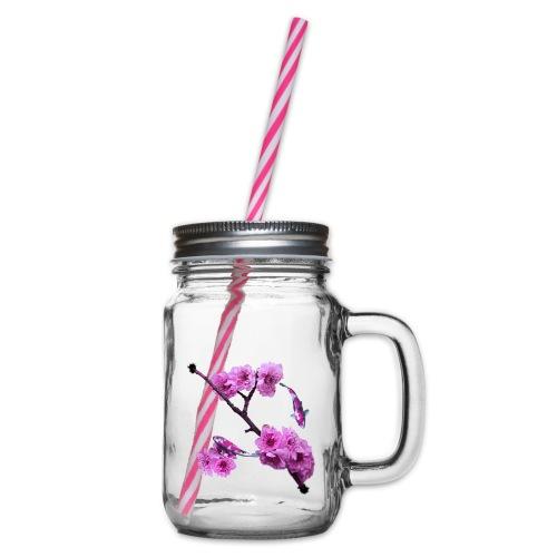 Flower Back - Glas med handtag och skruvlock