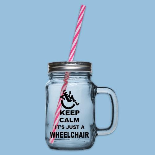 Keepcalmjustwheelchair2 - Drinkbeker met handvat en schroefdeksel