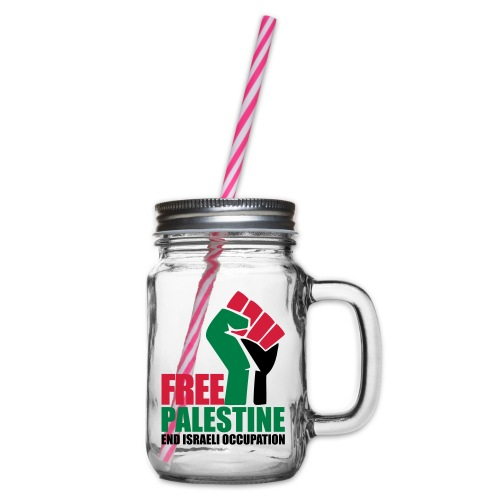 Free Palestine End Israeli Occupation - Glass jar with handle and screw cap