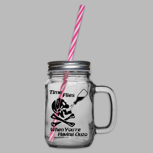 Time Flies Ouzs Shirt - Henkelglas mit Schraubdeckel