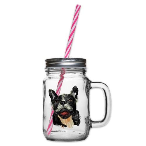French Bulldog Portrait - lebendig und urban - Henkelglas mit Schraubdeckel