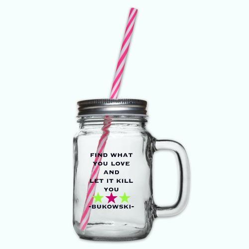 bukowski - Glass jar with handle and screw cap