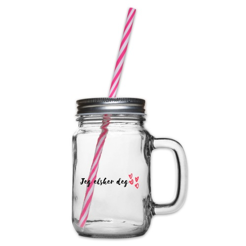 Jeg elsker deg - Glass med hank og skrulokk