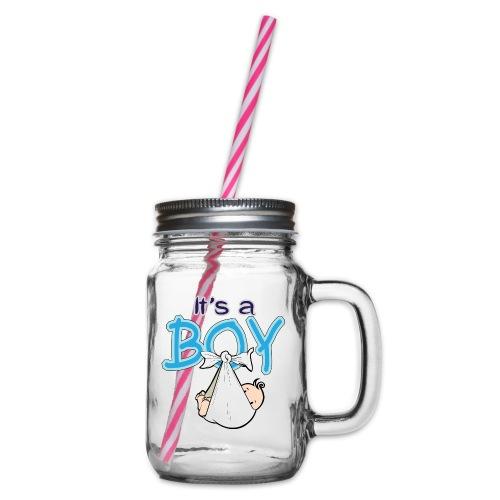 Babyshower Boy Blauw - Drinkbeker met handvat en schroefdeksel