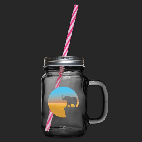 Sunset Elephant - Glass jar with handle and screw cap