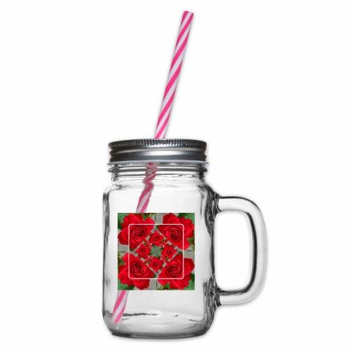 Rose Design - Henkelglas mit Schraubdeckel
