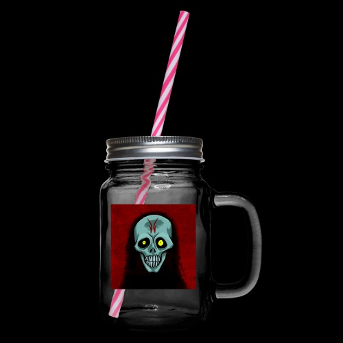 Ghost skull - Glass jar with handle and screw cap