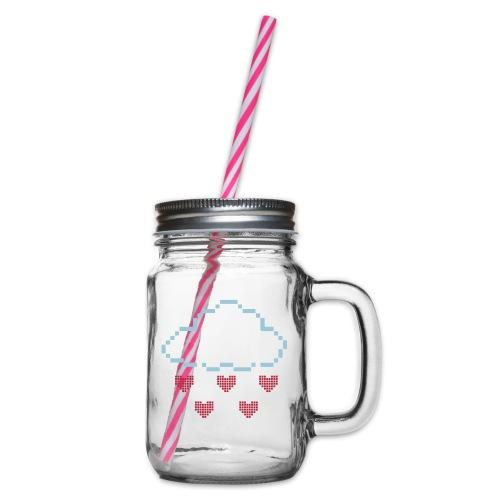 Wolke Pixelherz - Henkelglas mit Schraubdeckel