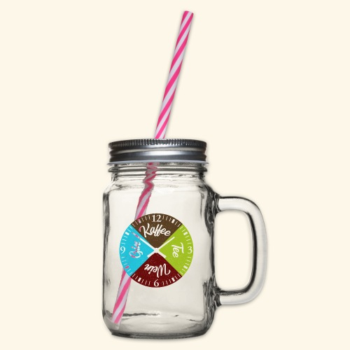 Witzige Getränke Uhr Kaffee Tee Wein Gin Genießer - Henkelglas mit Schraubdeckel
