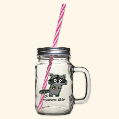Geschirrabspülbär - Henkelglas mit Schraubdeckel
