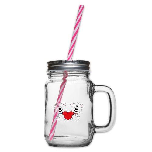 Lustige Eisbären - Herz - Liebe - Love - Fun - Henkelglas mit Schraubdeckel