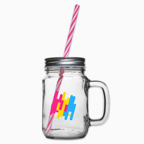 Abstract Panic Design! - Glass jar with handle and screw cap