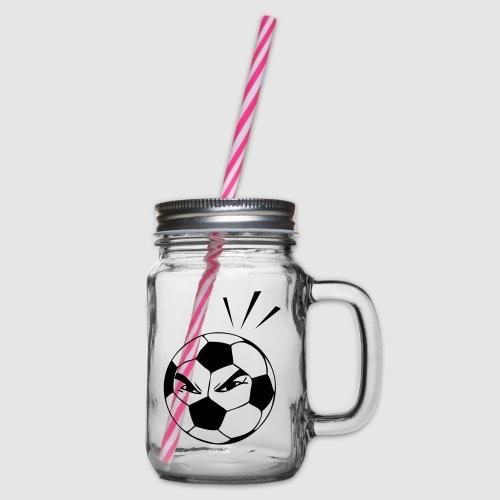 energischer Fußball - Henkelglas mit Schraubdeckel