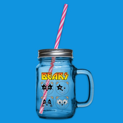 Kiss Bears square.png - Glass jar with handle and screw cap