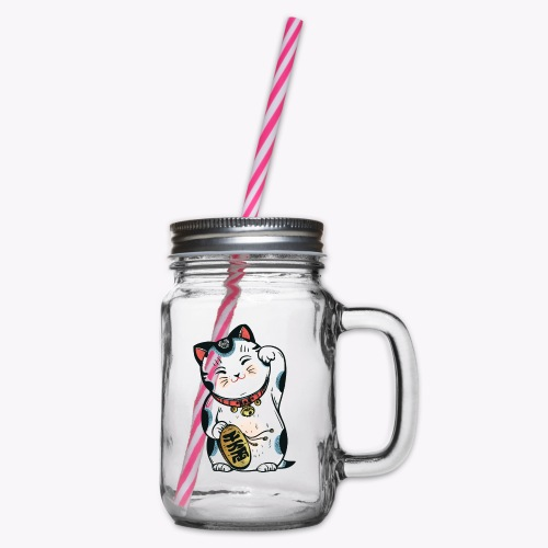 The Lucky Cat - Glass jar with handle and screw cap