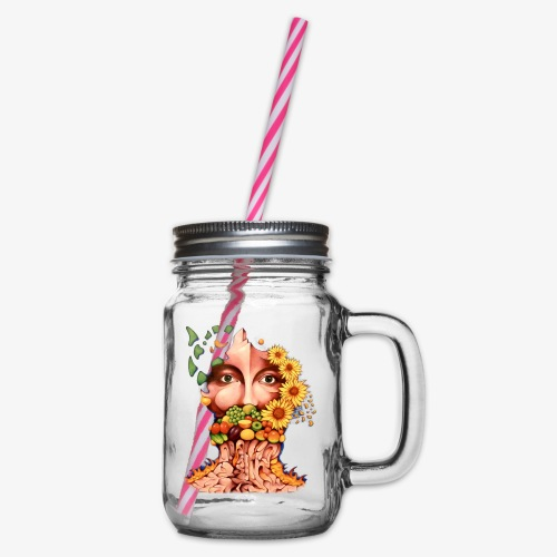 Fruit & Flowers - Glass jar with handle and screw cap