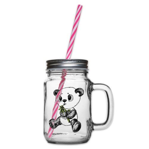 Panda bjørn farvet scribblesirii - Drikkekrus med skruelåg