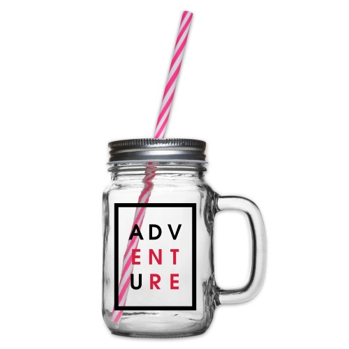 Enter Adventure - Glass jar with handle and screw cap