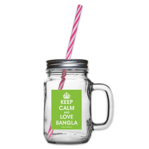 Keep Calm Love Bangla 300DPI 2585by3335 - Glass jar with handle and screw cap