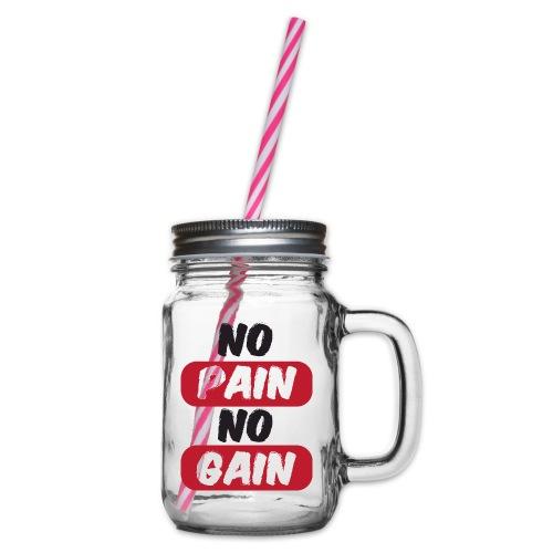 no pain no gain t shirt design fitness - Boccale con coperchio avvitabile