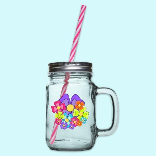 Blumen - Henkelglas mit Schraubdeckel
