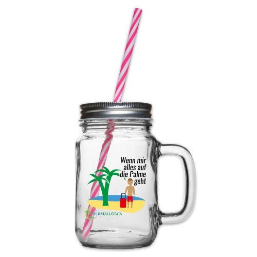 Mallorca - lustige, witzige Sprüche - Malle Urlaub - Henkelglas mit Schraubdeckel