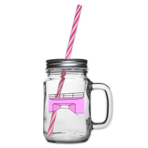 Pink Tunnel - Glas med handtag och skruvlock