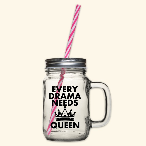 EVERY DRAMA black png - Glass jar with handle and screw cap