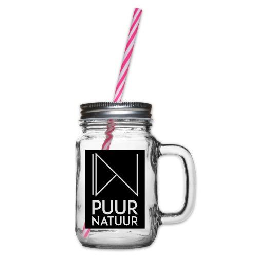 Logo puur natuur negatief - Drinkbeker met handvat en schroefdeksel