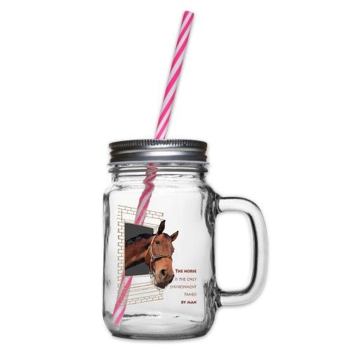 Koń to jedyny żywioł, ujarzmiony przez człowieka - Słoik do picia z pokrywką