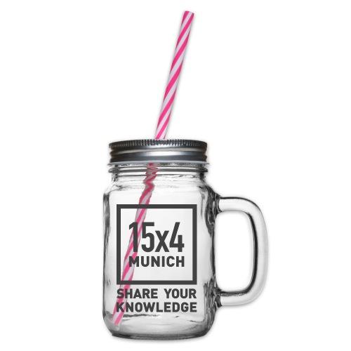Share your knowledge - Henkelglas mit Schraubdeckel