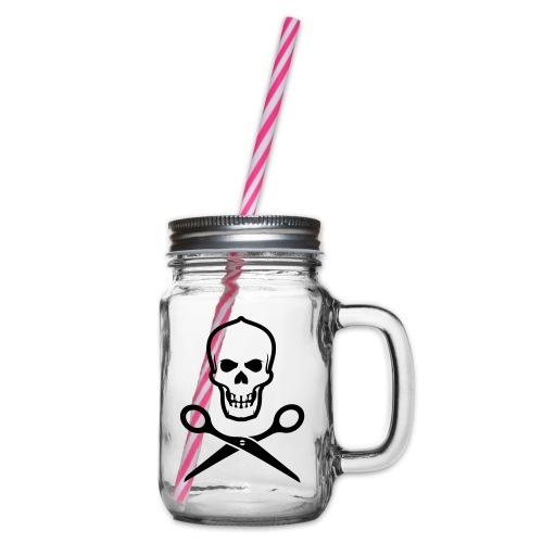 Totenkopf mit Schere - Henkelglas mit Schraubdeckel
