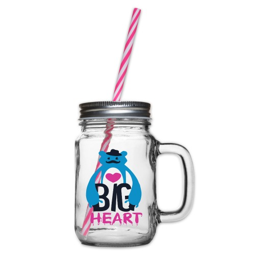 Big Heart Monster Hugs - Glass jar with handle and screw cap