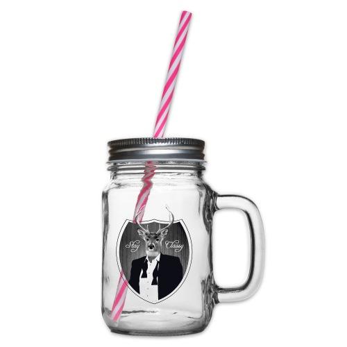 Deer in tuxedo - Glass jar with handle and screw cap