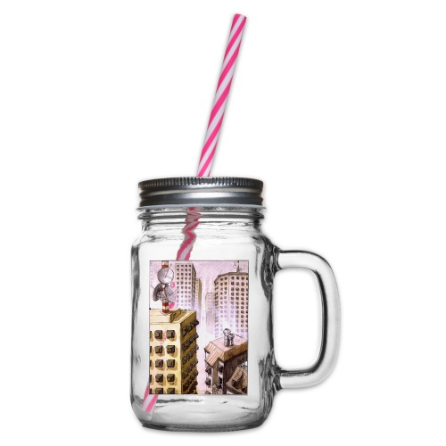 TV Nation - Glass jar with handle and screw cap