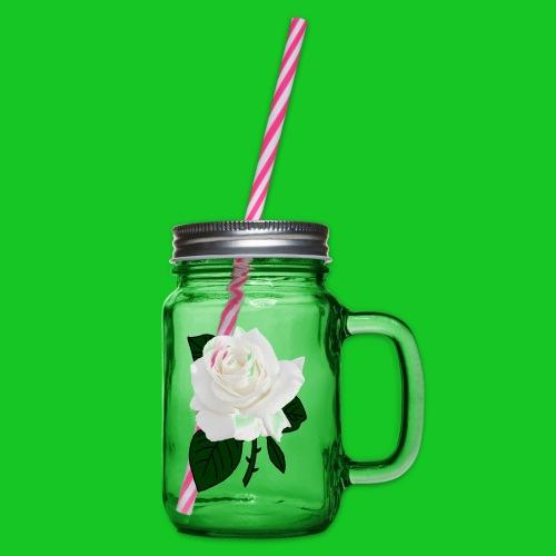 Roos wit 1 - Drinkbeker met handvat en schroefdeksel